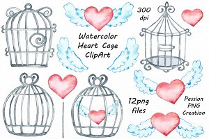 Watercolor Heart Cage Clipart