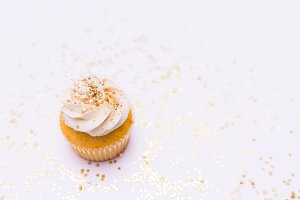 White Cupcake Stock Photo