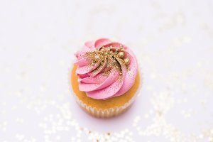 Square Pink Cupcake Stock Photo