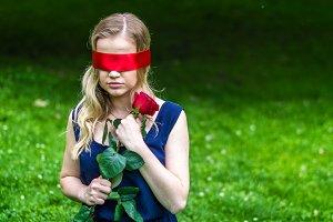 beautiful girl blindfolded