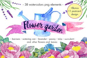 "Watercolor pack ""Flower garden"""