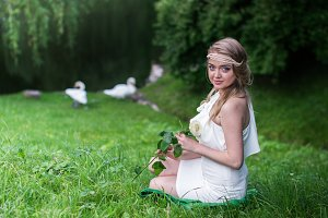 beautiful girl with white rose