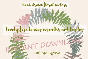 2 Fern leaves wreaths and a border