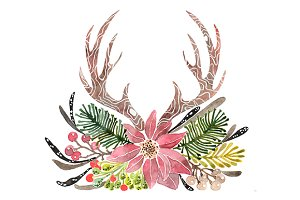 Rustic Antlers Christmas Clipart
