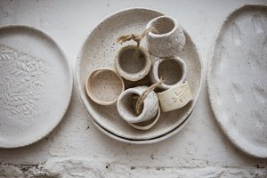Ceramics in pottery workshop set
