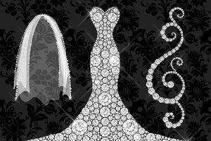 White Diamond Wedding Dress Clipart