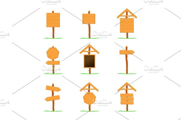 Wooden Signboards Vector Template