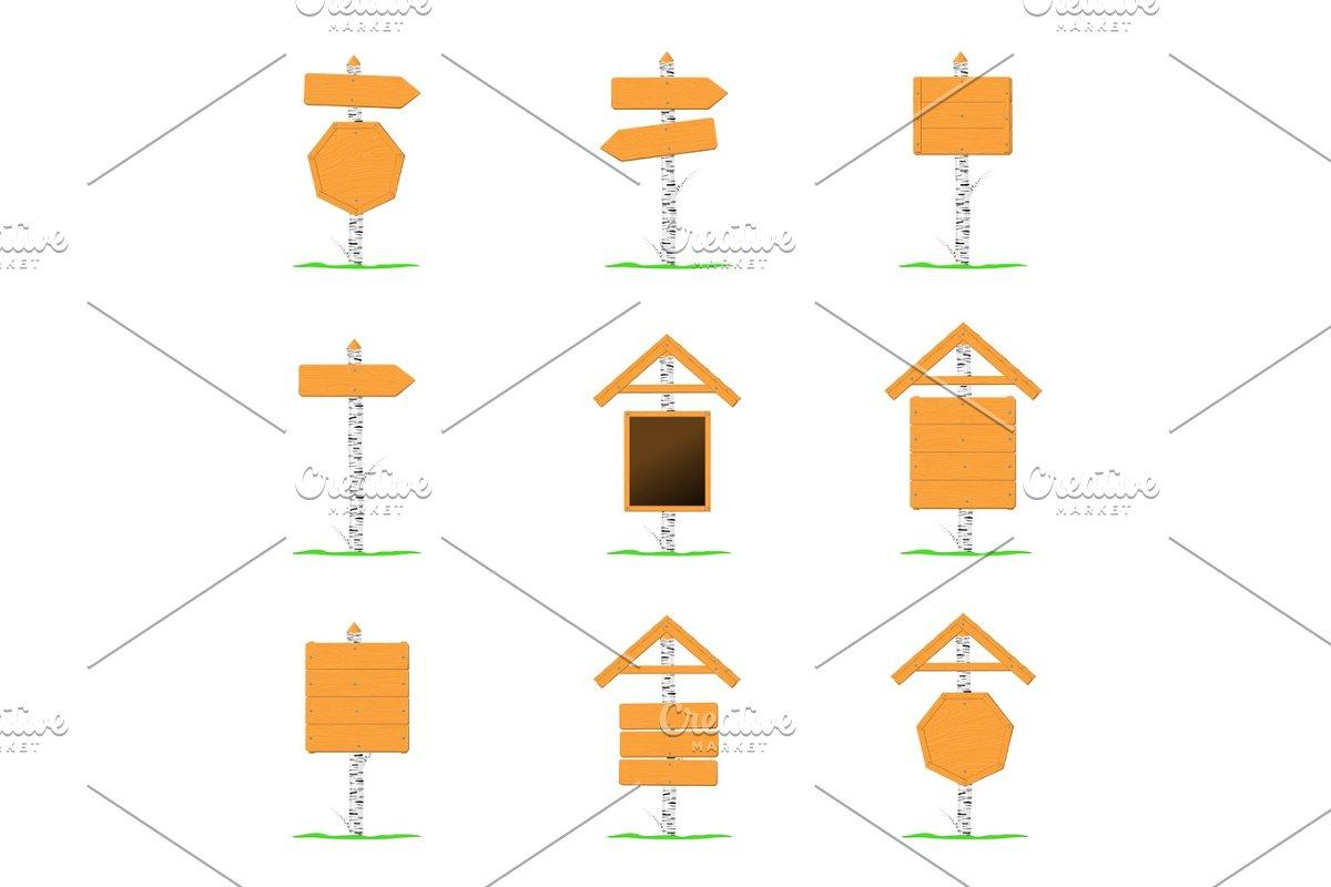 Wooden signboards vector template