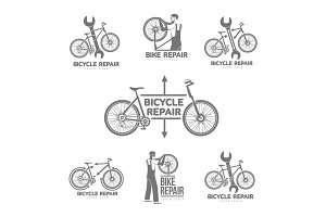 Bicycle repair workshop vector logo template