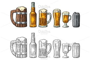Beer glass, mug, can, bottle, barrel