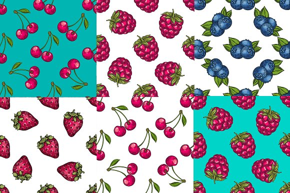 Berry hand drawn set, patterns in Illustrations - product preview 3