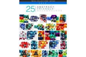 Mega collection of 24 low poly triangle abstract backgrounds