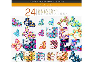 Mega collection of 24 low poly circle triangle abstract backgrounds