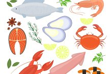seafood, shrimp and sushi icons