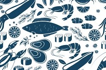 seafood seamless background