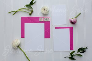 Fuchsia Floral Invitation Lay Flat