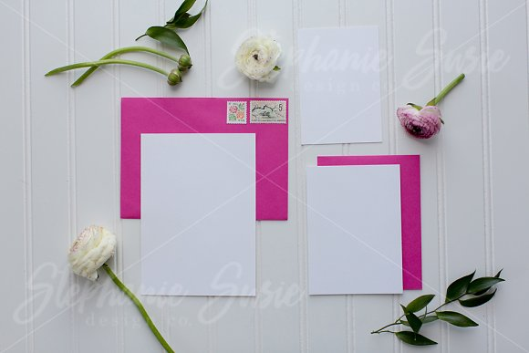 Fuchsia Floral Invitation Lay Flat