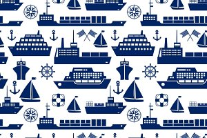 Ships and boats seamless background