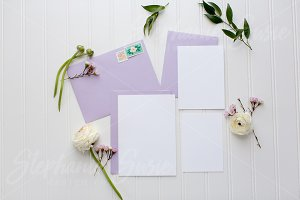 Plum Invitation Lay Flat Mock Up