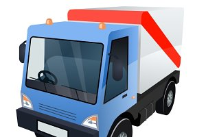 Cargo Truck on White Background