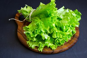Lettuce on a wooden cutting board