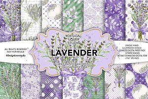 Watercolor Lavender digital papers