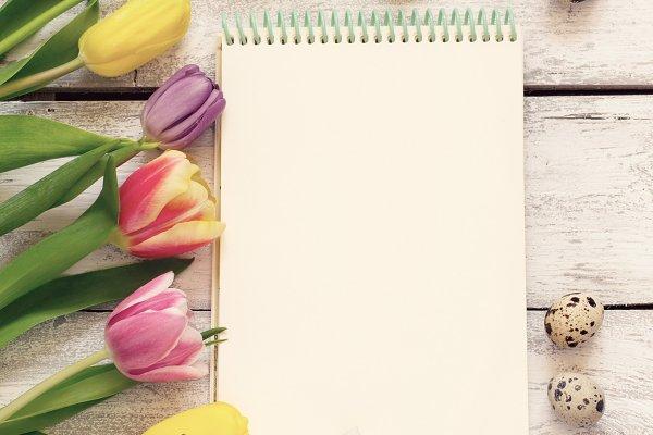 Notepad, beautiful tulips and quail…