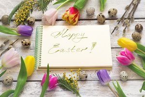 Easter greeting card with tulips, eggs, willow and mimosa