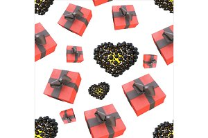 Christmas New Year colorful red gift boxes and hearts with bows of ribbons flying on white background. seamless pattern. 3d illustration