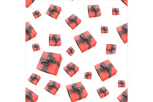 Christmas New Year colorful red gift boxes with bows of ribbons flying on white background. seamless pattern. 3d illustration