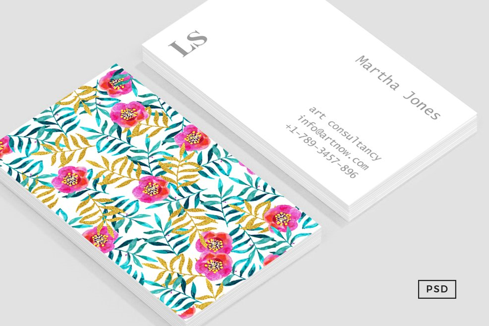 Floral II Business Card Template ~ Business Card Templates ...