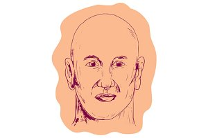Bald Caucasian Male Head Drawing