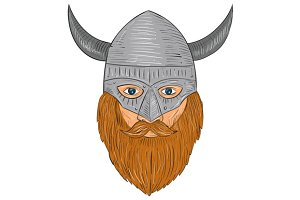 Viking Warrior Head Drawing