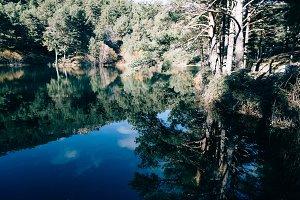 Reflections on mountain lake
