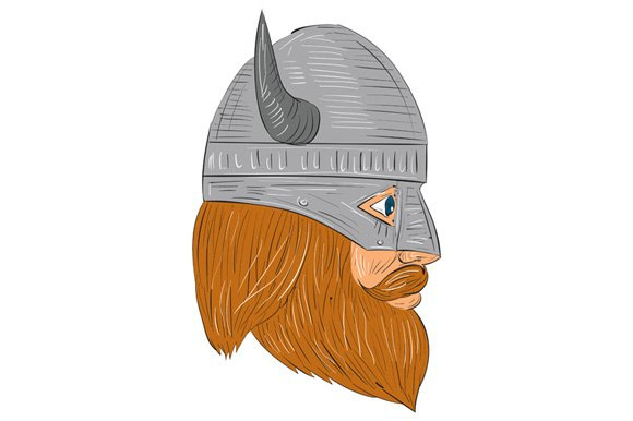 Viking Warrior Head Right Side View ~ Illustrations ...