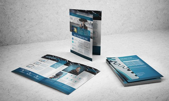 A BiFold Brochure Template Brochure Templates Creative Market - Bi fold brochure templates