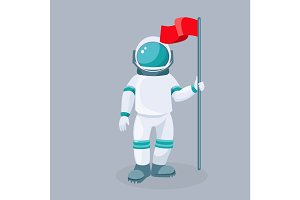 Spaceman with red waving flag isolated vector. Astronaut in space