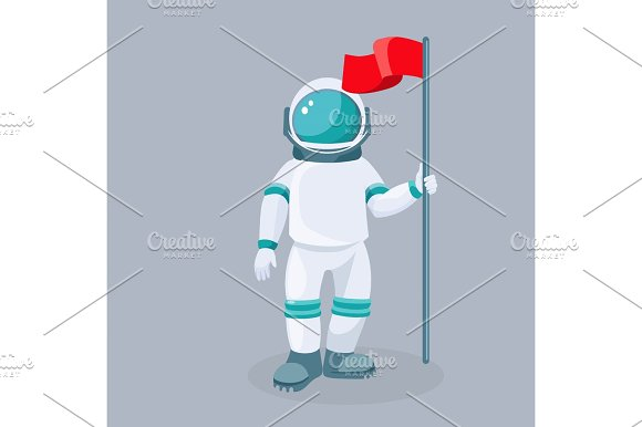Spaceman With Red Waving Flag Isolated Vector Astronaut In Space