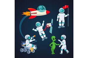 Flying rocket, spaceman with satellite, alien speaking to astronaut isolated