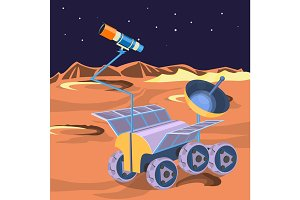 Spaceship investigate planet in space. Explore of barren moon