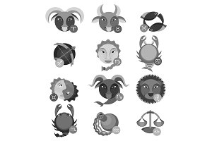 Set of colorless astrology water, air, earth and fire signs.