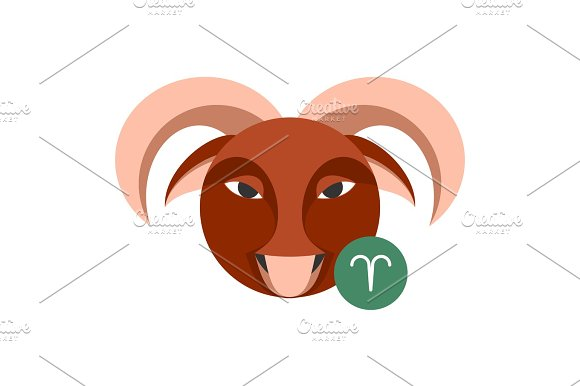 Aries Astrology Sign Isolated On White Horoscope Zodiac Symbol