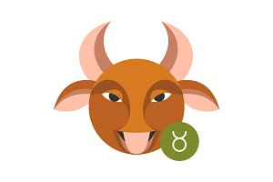 Taurus astrology sign isolated on white. Horoscope zodiac symbol