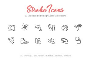 50 BeachCamping Outline Stroke Icons