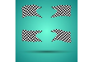Racing background set collection of 4checkered flags vector illustration. EPS10