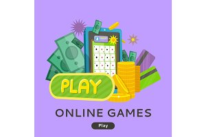Online Games Web Banner Isolated with Play Button.