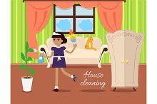 House Cleaning Concept Vector In Flat Design