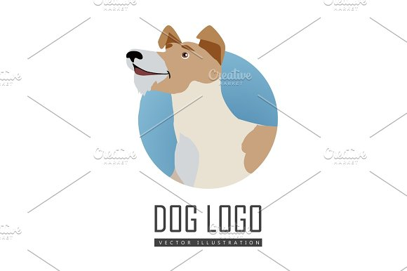Dog Vector Logo In Flat Style Design