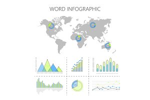 World Infographics Vector with Graphs and Diagrams
