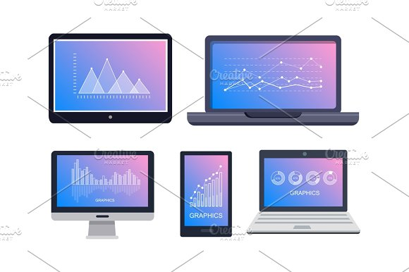 Graphics On Technological Equipments On White